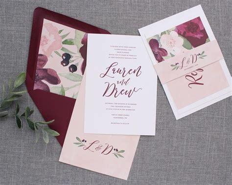 Burgundy And Blush Wedding Invitations