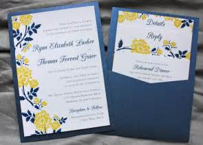 blue and yellow wedding invitation cards navy blue yellow flower clutch pocket invitations