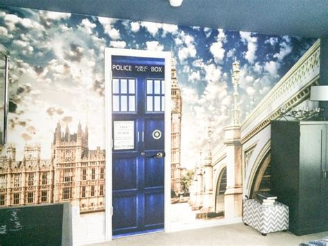 tardis wall mural doctor who and theme bedroom with a tardis vinyl door decal and wall mural tayah s