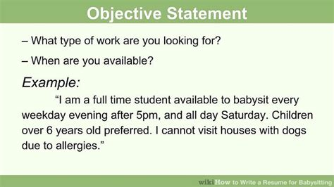 What Do You Write In The Objective Of A Resume by How To Write A Resume For Babysitting With Pictures Wikihow