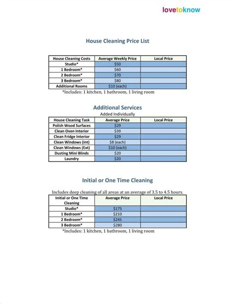 house cleaning prices 29 price list exles free premium templates