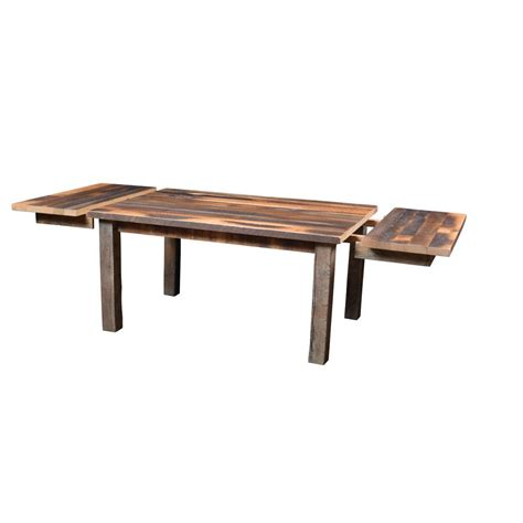almanzo barnwood dining table square leg extendable