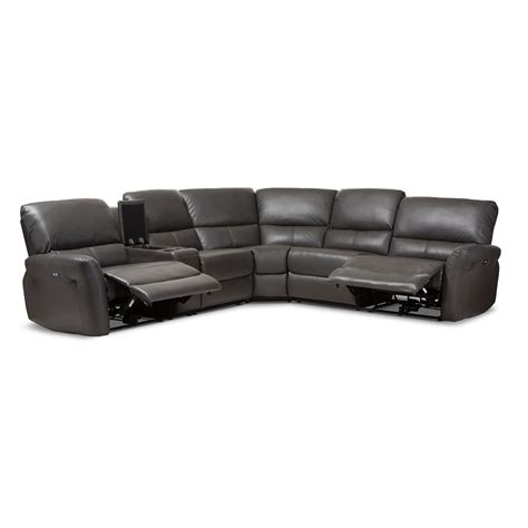 5 piece leather sectional sofa baxton studio amaris modern and contemporary grey bonded