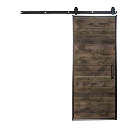 Closet Door Kits Rustica Hardware 36 In X 84 In Mountain Modern Home Depot Grey Wood Barn Door With Mountain