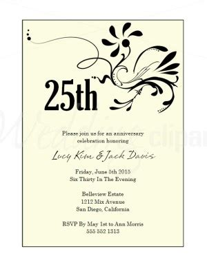 25th birthday invitation templates printable black flower wedding anniversary