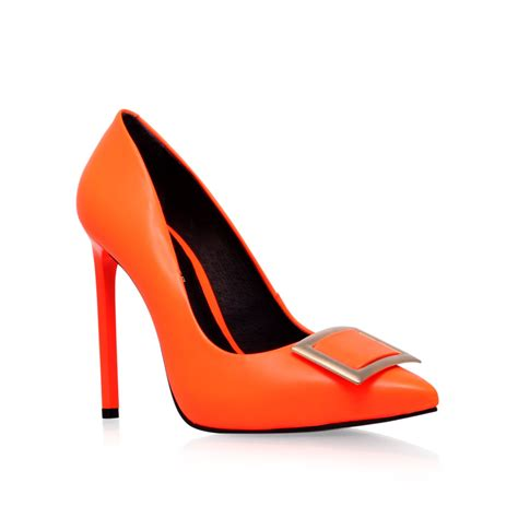 kg by kurt geiger bryony high heel court shoes in orange