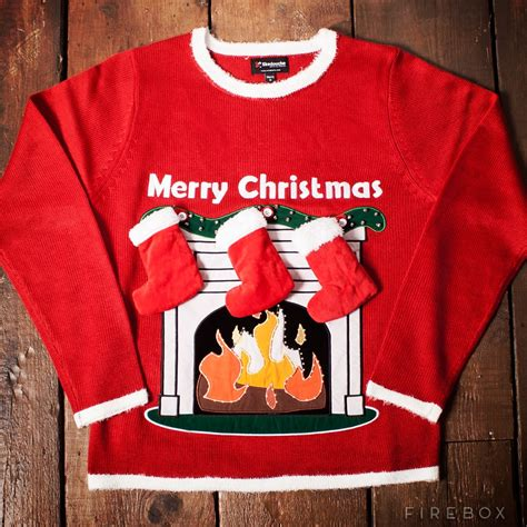 light up fireplace christmas jumper with stockings