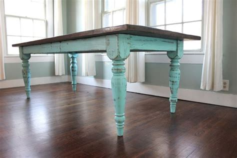 turquoise farm table teal paint refinished table and