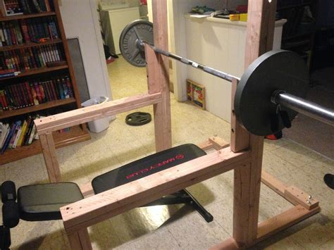 wood bench press diy squat rack google search body pinterest squat
