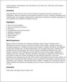 resume for records clerk collegeconsultants x fc2