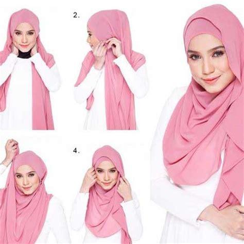 tutorial hijab pashmina kaos syar i model hijab kantoran simpel dan praktis banget modelbusana