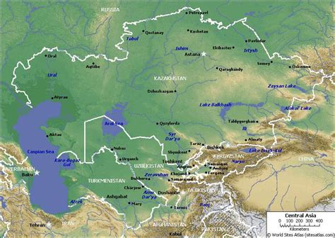 south central asia physical map the best kazakhstan map