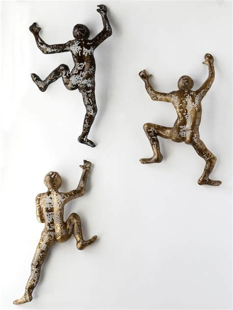 Unusual Wall Art by Climbing Figure Metal Wall Art Unique Gift Wire Mesh
