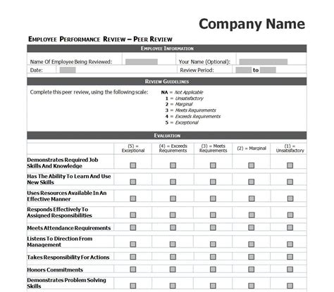 Employee Performance Review Checklist Staff Performance Review Template