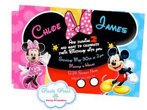mickey and minnie mouse invitation joint by fiestaprint