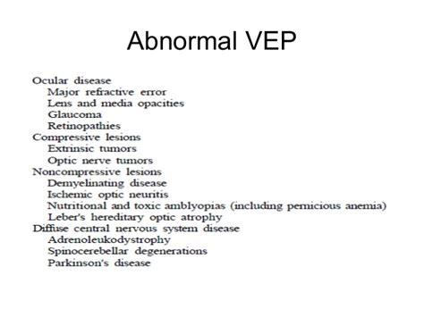 pattern vep normal values v isual evoked potentials