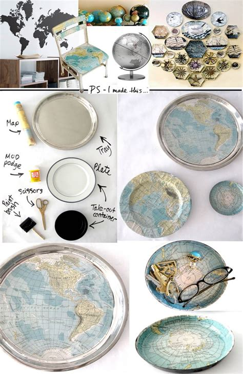 Decoupage With Maps - 32 inventive ways to repurpose maps diy craft tutorials