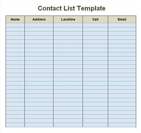 24 Free Contact List Templates In Word Excel Pdf Sheets Contact List Template