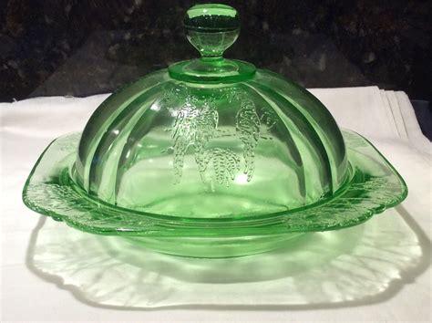 federal glass green parrot sylvan butter dish cover