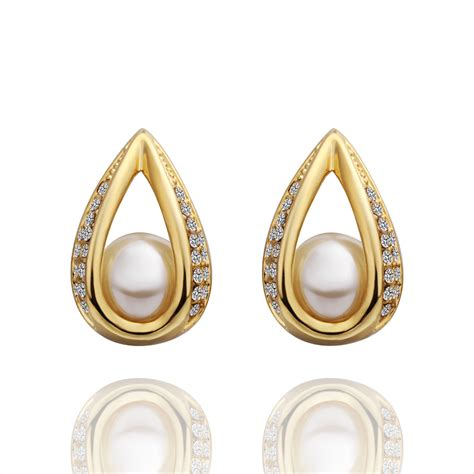 free shipping 18k gold plated earring high quality pearl