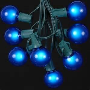 blue string lights blue satin g50 globe outdoor string light set on