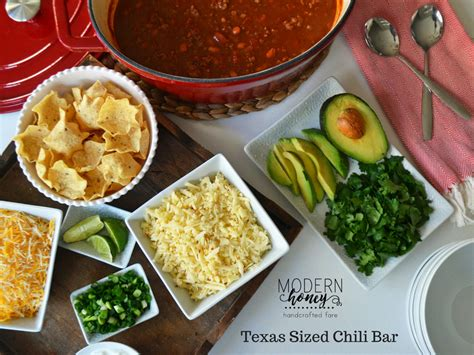 chili bar toppings texas sized chili bar modern honey