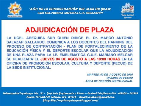 adjudicacipn de plazas pata el contrato docente 2016 adjudicaci 243 n de plazas plan de fortalecimiento de la