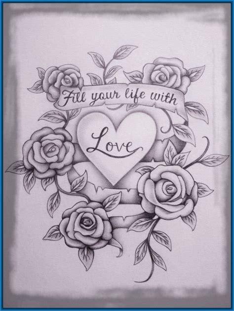 imagenes de rosas en 3d a lapiz sencillos dibujos de corazones a lapiz en 3d dibujos de