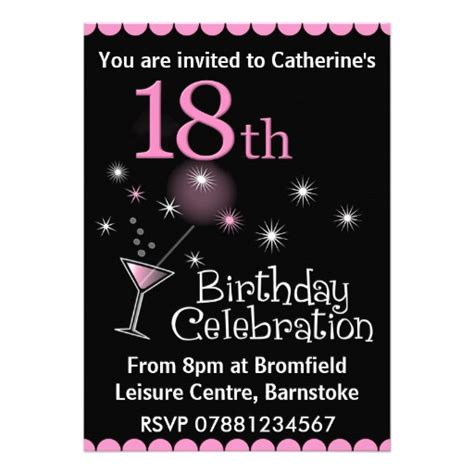 18th birthday party invitation 13 cm x 18 cm invitation