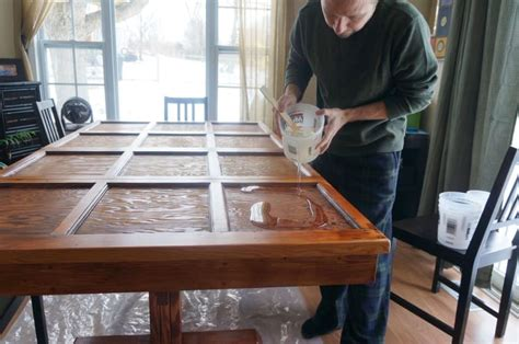 turning an old door into a dining room table he installs a new garage door what he does to the old one