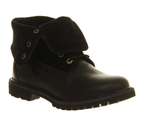 black suede timberland boots for womens timberland authentic suede roll top black boots ebay