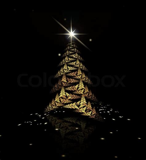 gold fractal christmas tree on black background stock