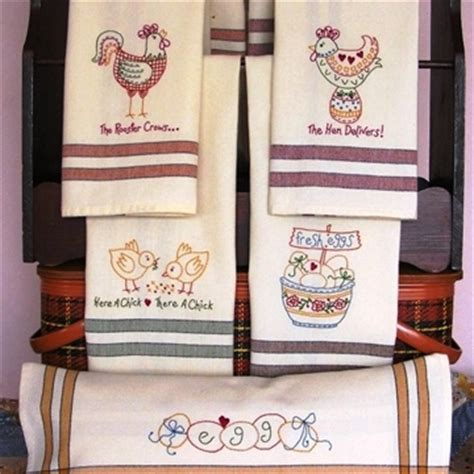 machine embroidery designs for kitchen towels tea towels with whimsical chicken designs to machine