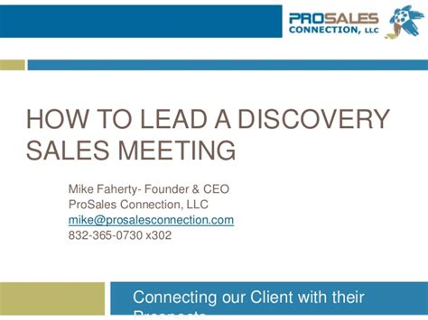 how to lead a how to lead a discovery meeting