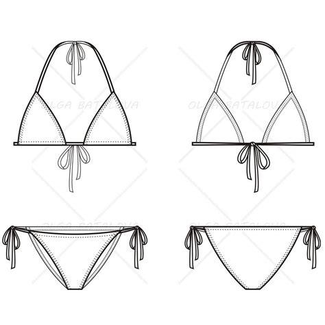 women s triangle bikini fashion flat template
