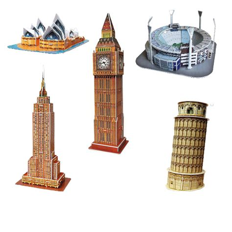Cubic Puzzle 3d Leaning Tower Of Pisa Large Size mini educational 3d model puzzle jigsaw leaning tower of pisa sydney opera house empire state