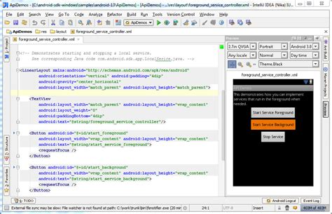 android layout xml r java new in intellij idea 11 preview of android ui layouts