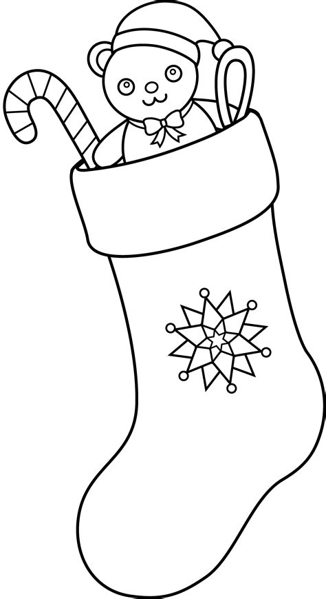 stocking outline coloring page christmas stocking line art free clip art