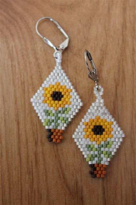 delica beaded earrings items similar to sunflower earrings handmade using delica