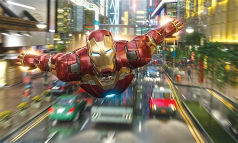 hong kong disneylands aia sponsored iron man ride set