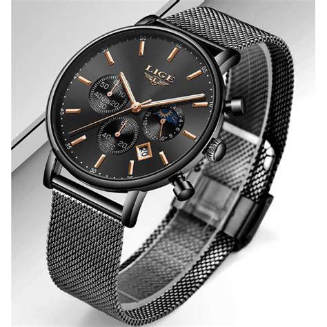 lige jam tangan chronograph pria strap stainless steel
