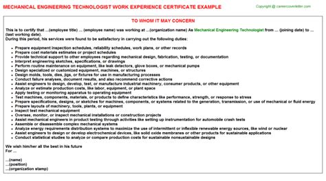 Work Experience Letter Mechanical Engineer Mechanical Engineer Work Experience Certificates