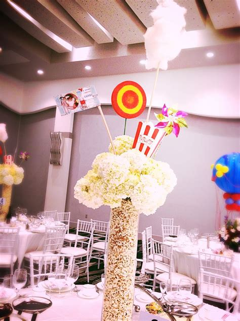 popcorn centerpiece for carnival theme party by dezign