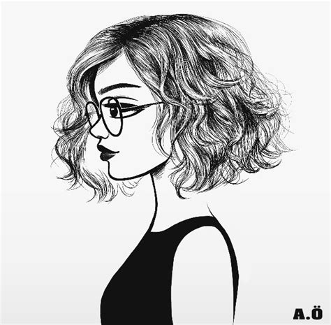 cool hairstyles drawing love how short and wavy her hair is art pinterest