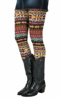 Angie 174 women s multi aztec print leggings sock cowboy boots ladies