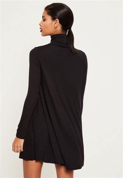 black long sleeve swing dress roll neck long sleeve jersey swing dress black missguided
