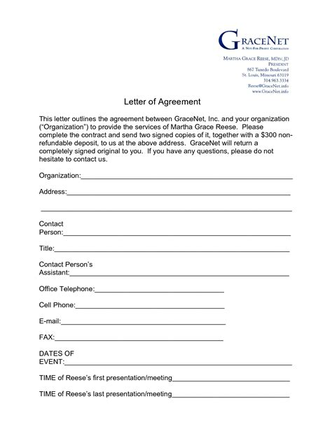 letter of agreement template between two 8 best images of sle agreement form between two