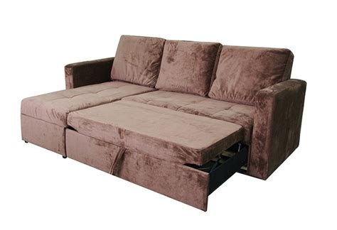 sofa bed storage chaise chocolate microfiber sectional sofa bed with left facing