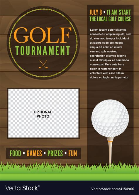 Golf Tournament Flyer Template Royalty Free Vector Image Vectorstock Golf Journal Template