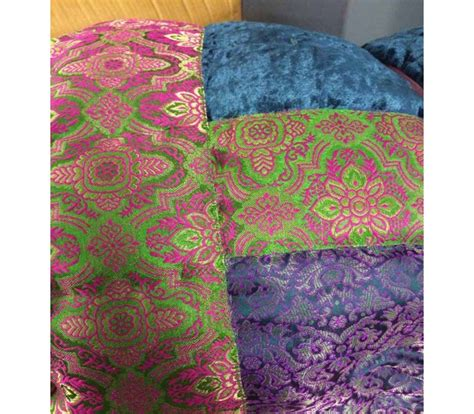 Velvet Patchwork Bedspread - blue green and purple satin brocade and velvet patchwork